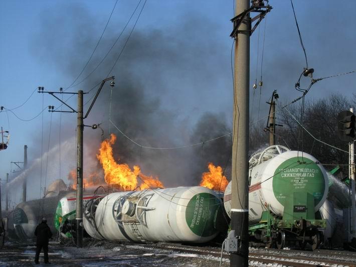 как горят с пропан бутаном цистерны в Донецкой области