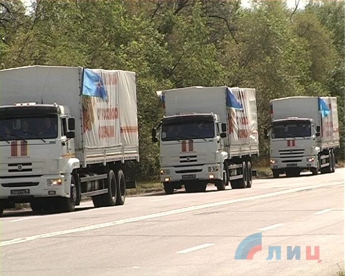 Отправленный вЛуганск «гумконвой» РФследовал полупустым— погранслужба