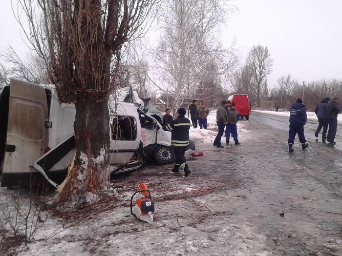 ВЛуганской области маршрутка врезалась вдерево, 10 человек пострадали
